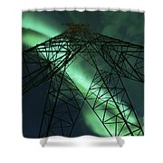 Powerlines And Aurora Borealis Shower Curtain