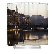 River Liffey, Dublin, Co Dublin, Ireland Shower Curtain