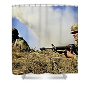 Seabees Defend Their Camp Shower Curtain