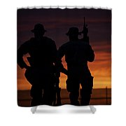 Silhouette Of U.s Marines On A Bunker Shower Curtain