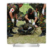 Soldiers Of A Belgian Infantry Unit Shower Curtain