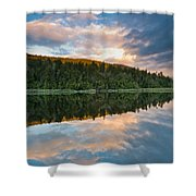 Sunrise Above A Lake On A Wind Still Morning Shower Curtain