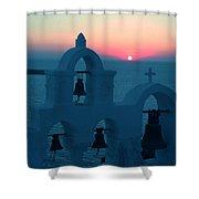 Sunset Santorini Greece Shower Curtain