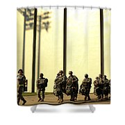U.s. Army Soldiers Prepare To Board Shower Curtain