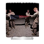 U.s. Marines Fold The American Flag Shower Curtain