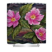 3 Wild Roses Shower Curtain