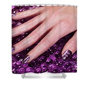 Woman Hand With Purple Nail Polish Shower Curtain