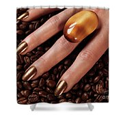 Woman Hands In Coffee Beans Shower Curtain