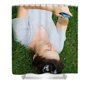 Woman Using Her Iphone Shower Curtain by Photo Researchers, Inc.