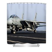 An F-14d Tomcat On The Flight Deck Shower Curtain