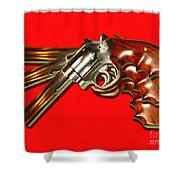 357 Magnum - Painterly - Red Shower Curtain