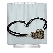 3597 Vintage Heart Brooch Pendant Necklace Shower Curtain