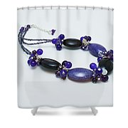 3598 Purple Cracked Agate Necklace Shower Curtain