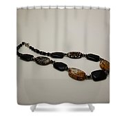 3617 Crackle Agate And Onyx Necklace Shower Curtain