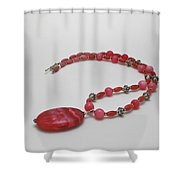 3619 Rhodonite And Bali Sterling Silver Necklace Shower Curtain