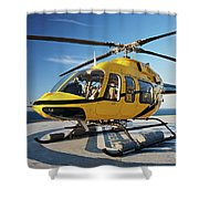 A Bell 407 Utility Helicopter Shower Curtain