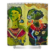 African Bead Painting  Shower Curtain