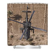 An Ah-64d Apache Helicopter In Flight Shower Curtain