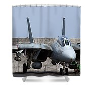 An F-14d Tomcat In Launch Position Shower Curtain