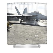 An Fa-18f Super Hornet Launches Shower Curtain