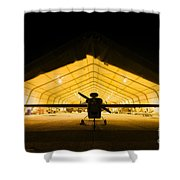 An Rq-5 Hunter Unmanned Aerial Vehicle Shower Curtain