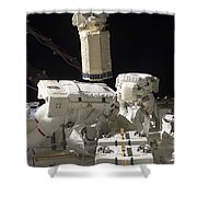 Astronauts Working On The International Shower Curtain