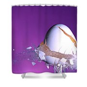 Egg Hit By A Bullet Shower Curtain