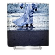 Girl At The Sea Shower Curtain
