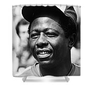 Hank Aaron (1934- ) Shower Curtain by Granger