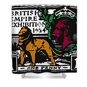 old British postage stamp Shower Curtain
