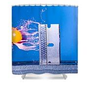 Paintball Shot At Razor Blade Shower Curtain