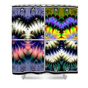 4 Panel Look Hearts Ud Fractal 64 Shower Curtain