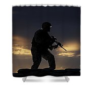 Partially Silhouetted U.s. Marine Shower Curtain