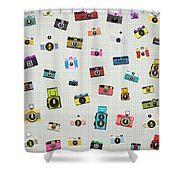 Retro Camera Pattern Shower Curtain by Setsiri Silapasuwanchai