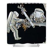 Russian Cosmonauts Working Shower Curtain