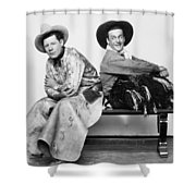 Silent Film Still: Cowboys Shower Curtain