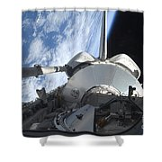 Space Shuttle Discovery Backdropped Shower Curtain