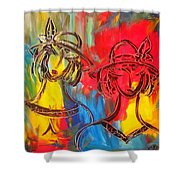 Two Girls Shower Curtain