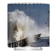 Waves Crashing By Lighthouse At Shower Curtain by John Short