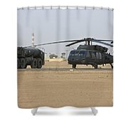 A Uh-60 Black Hawk Helicopter Shower Curtain