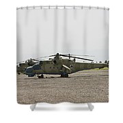 An Mi-35 Attack Helicopter At Kunduz Shower Curtain