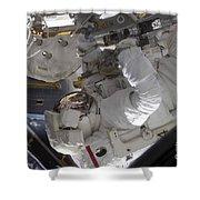 Astronaut Working On The International Shower Curtain