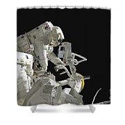 Astronauts Working On The International Shower Curtain