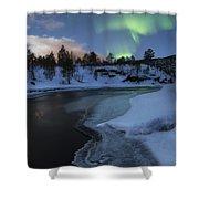 Aurora Borealis Over Tennevik River Shower Curtain