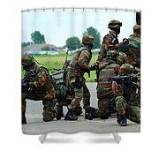 Belgian Paracommandos Entering Shower Curtain by Luc De Jaeger