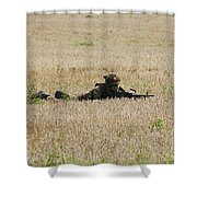 Belgian Paratroopers On Guard Shower Curtain by Luc De Jaeger