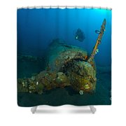 Diver Explores The Wreck Shower Curtain