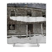 Snowy Abandoned Homestead Porch Shower Curtain