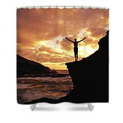 Yoga At Sunrise Shower Curtain