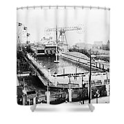 Steeplechase Pool Shower Curtain